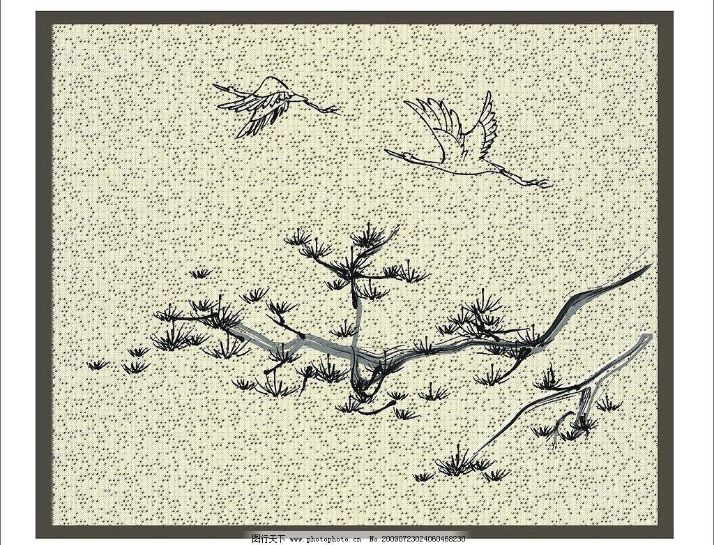 风景图 迎客松 鸟 大雁 树 黑白 编织 画 自然景观 自然风景 矢量图库