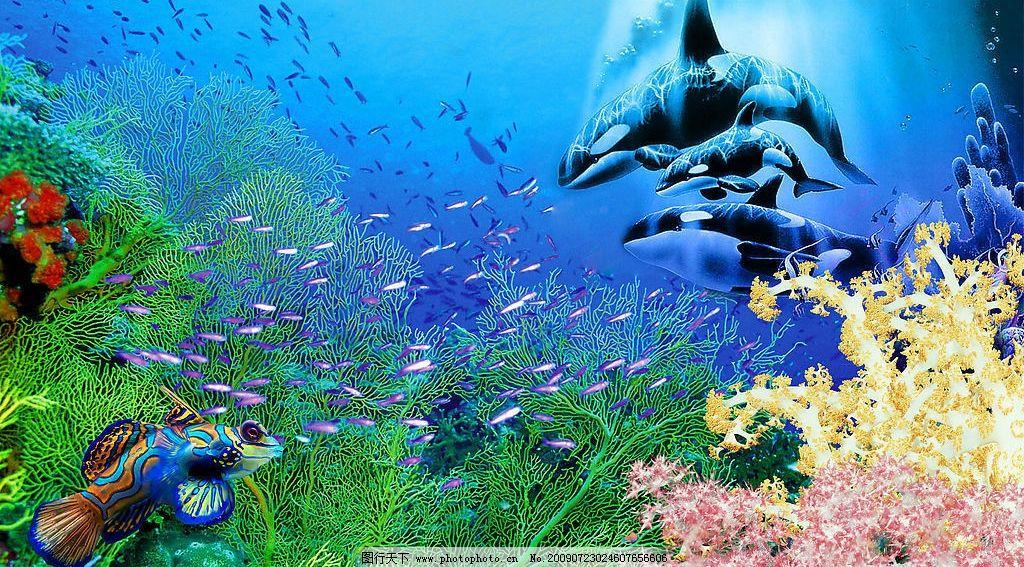 海洋世界 海洋 梦幻 鲸鱼 动物 生物 蓝色 生物世界 鱼类 设计图库
