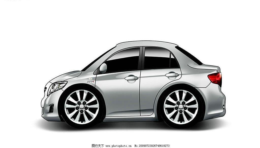 q版汽車 q版 豐田 卡羅拉 手繪車 卡通車 現代科技 交通工具 設計圖庫