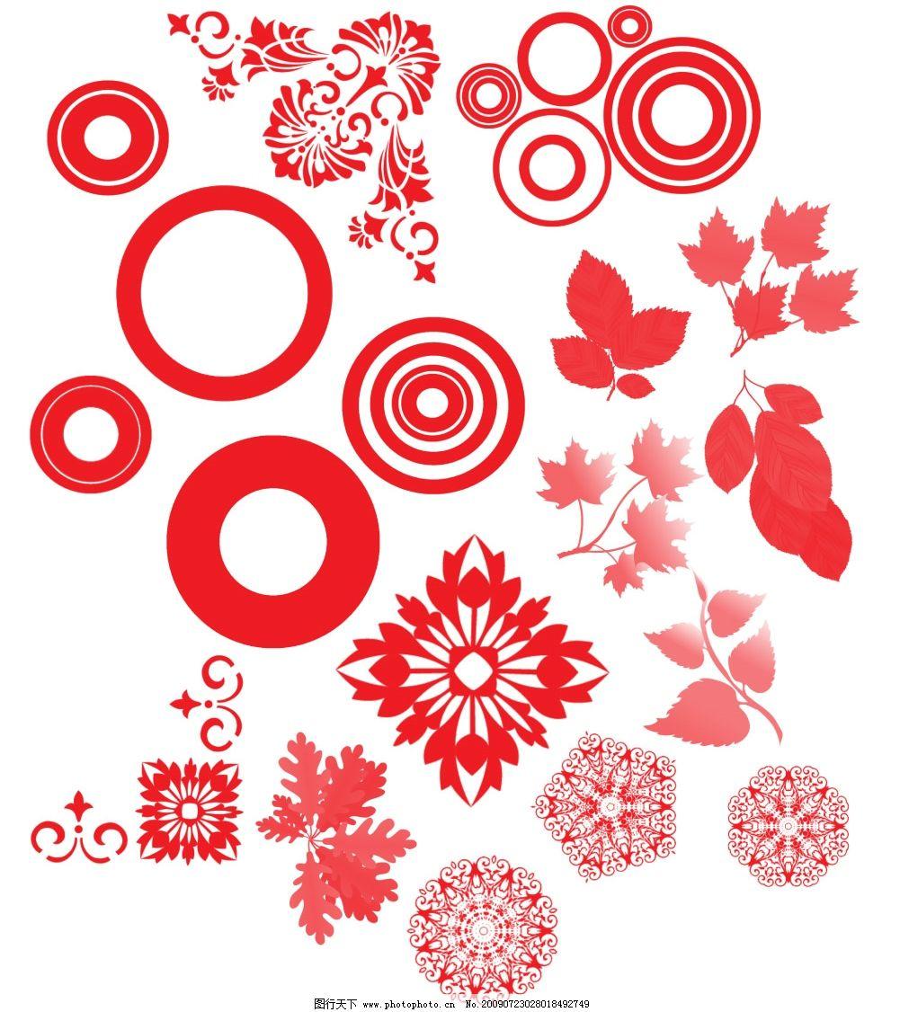 各种笔刷 圆圈 树叶 圆形花纹 角花 其他笔刷 源文件库