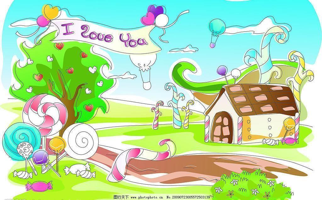 抽像城市 房屋 花草 卡通插画 其他矢量 气球 山路 矢量素材图片