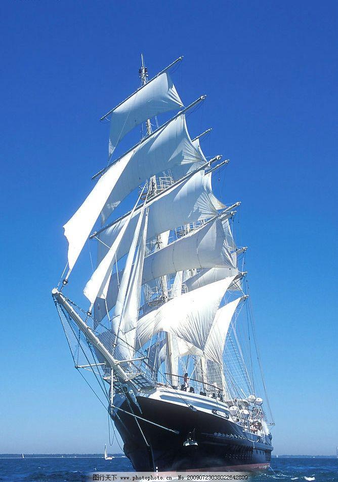 帆船 大海 蓝天 浩瀚无边 现代科技 交通工具 摄影图库