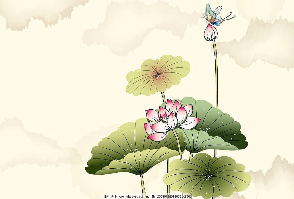 荷花 水墨 蝴蝶 文化艺术 绘画书法 设计图库 jpg