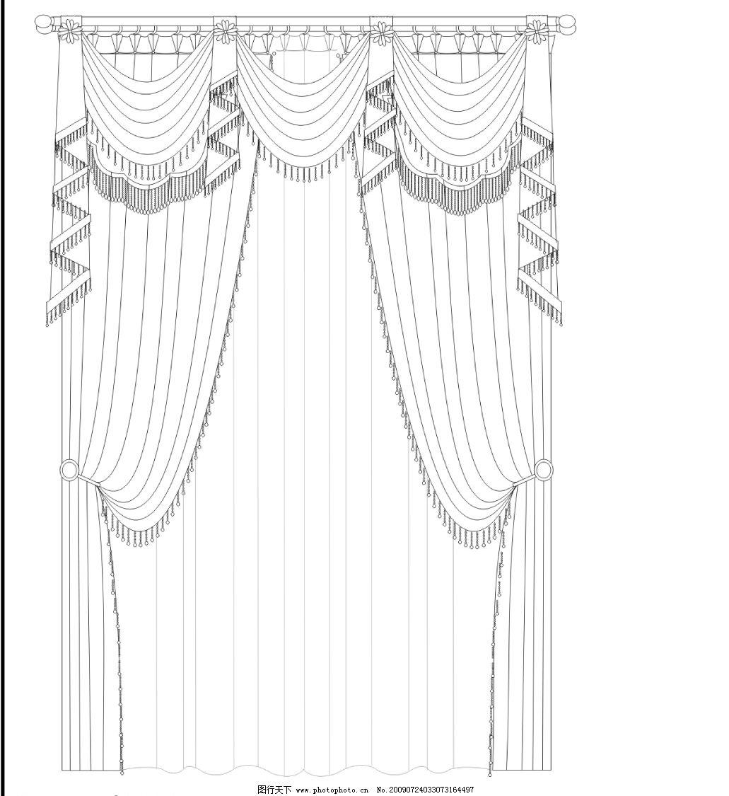 圆弧窗帘cdr线稿