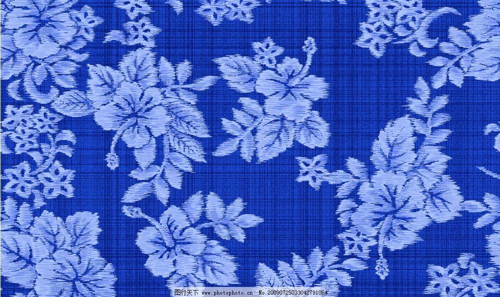 花纹图案 时尚花纹 布 蓝色 花边 边框 底纹 花纹线条 背景 边角花纹