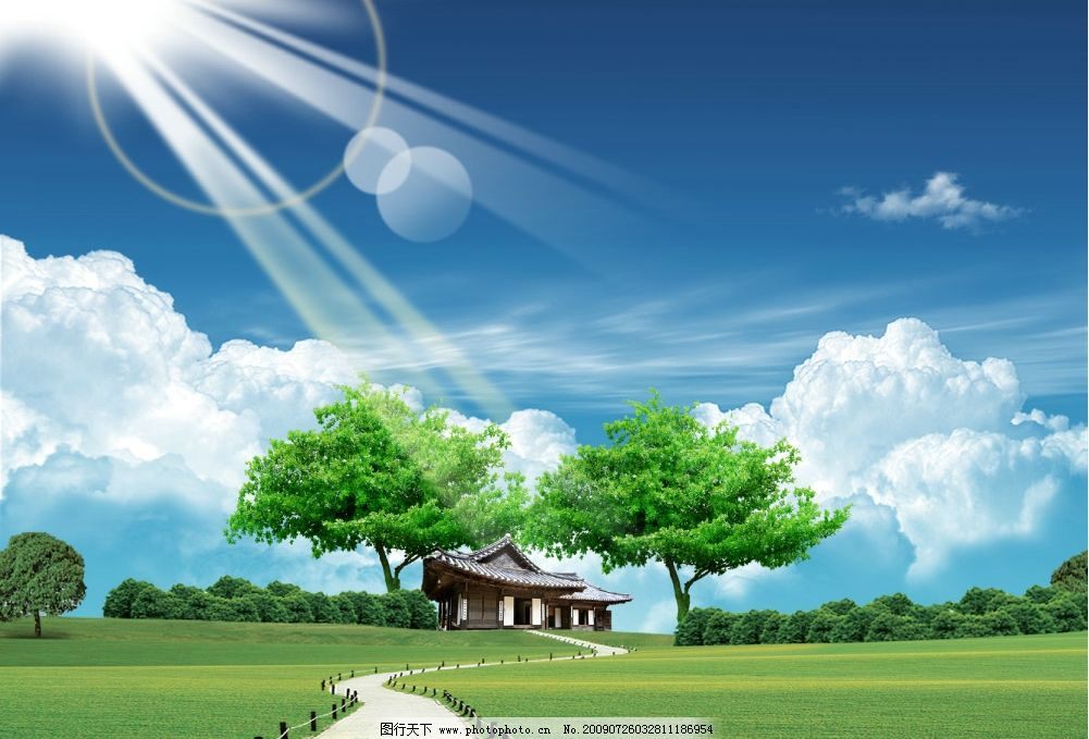 风景 蓝天白云 大树 小屋 小路 草地 森林 太阳 源文件库