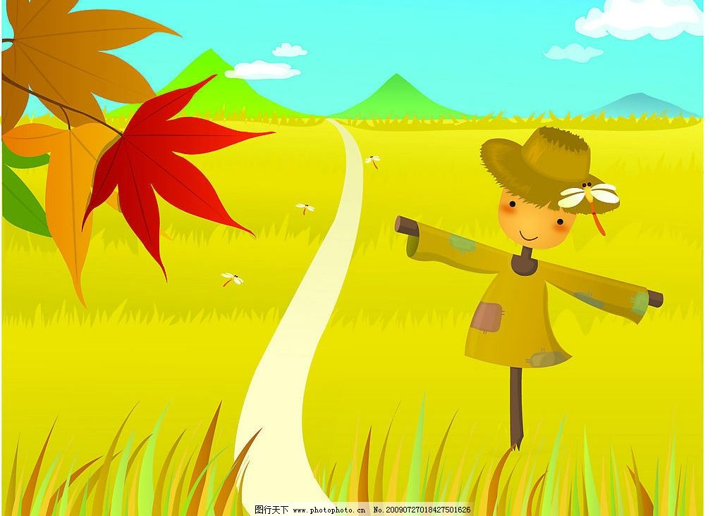稻草人插画 秋季 插画 稻草人 枫叶 成熟的庄稼 动漫动画 风景漫画