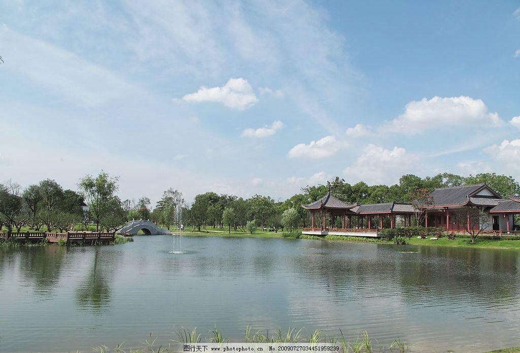 橘子洲 湖泊 树 房子 自然景观 山水风景 摄影图库 180dpi jpg