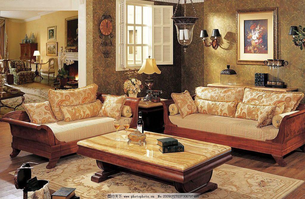 家具 欧式 欧式客厅装饰 沙发 茶几 地毯 家居生活 摄影图库图片