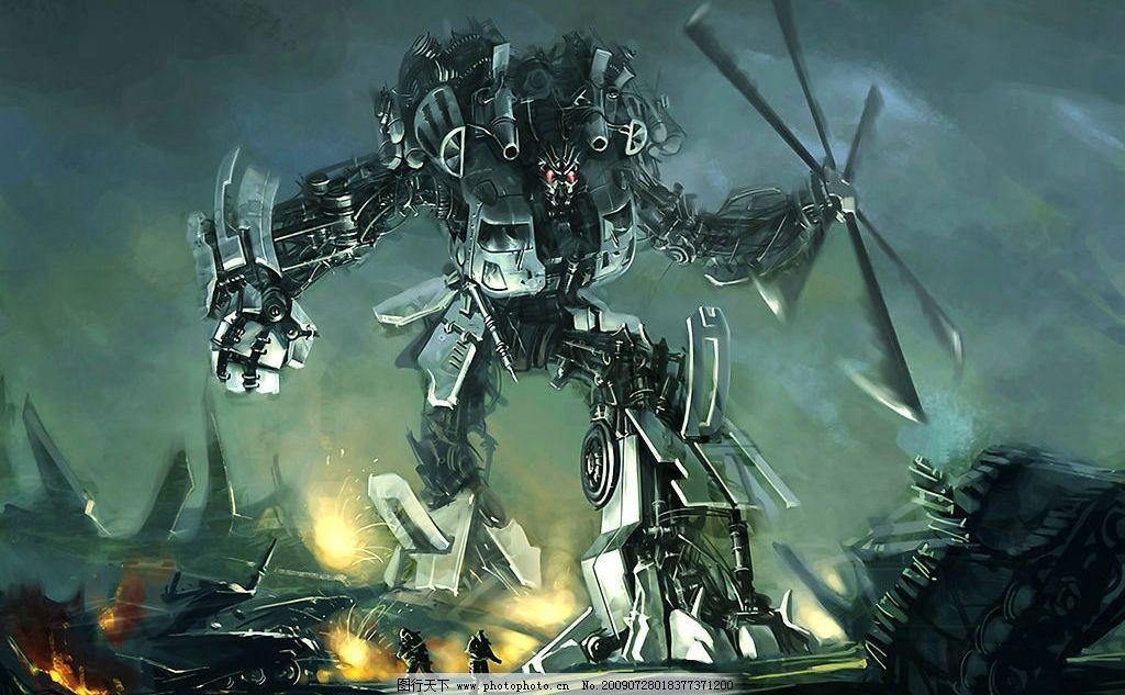 变形金刚设定画 变形金刚 直升机 设定画 手绘 战争 毁灭 摧毁 胜利