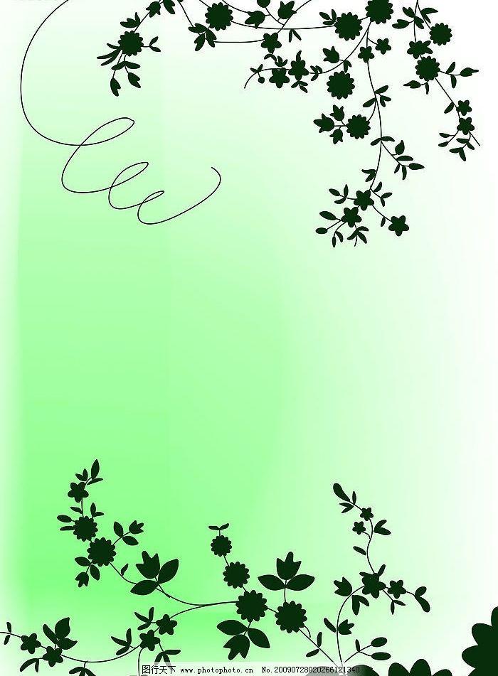 绿色花藤 韩国花纹 手绘花纹 绿色花 移门花纹 底纹边框 背景底纹