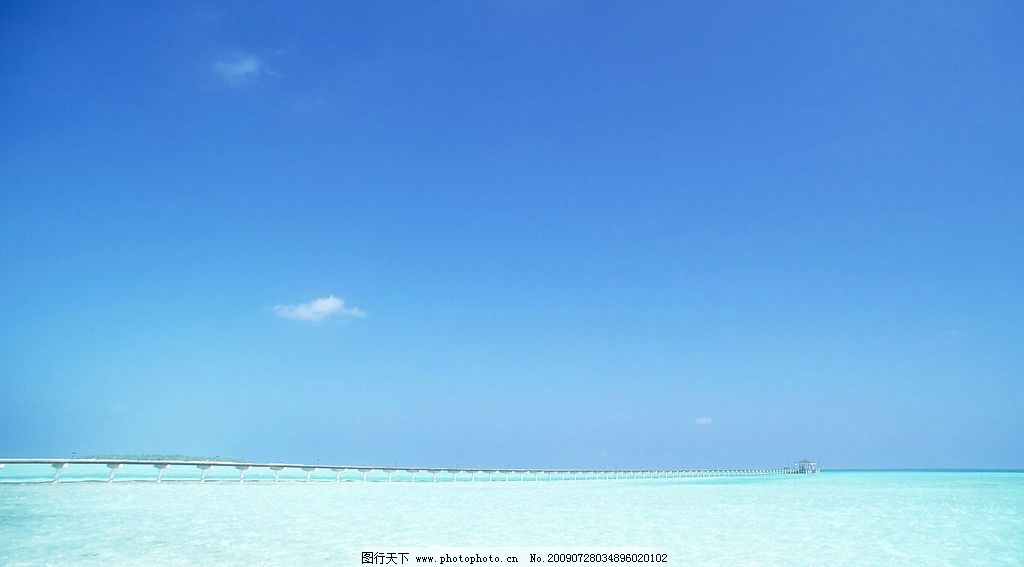 海面風景 海邊 海水 藍天 白云 云層 天空 景色 自然景觀 自然風景 攝