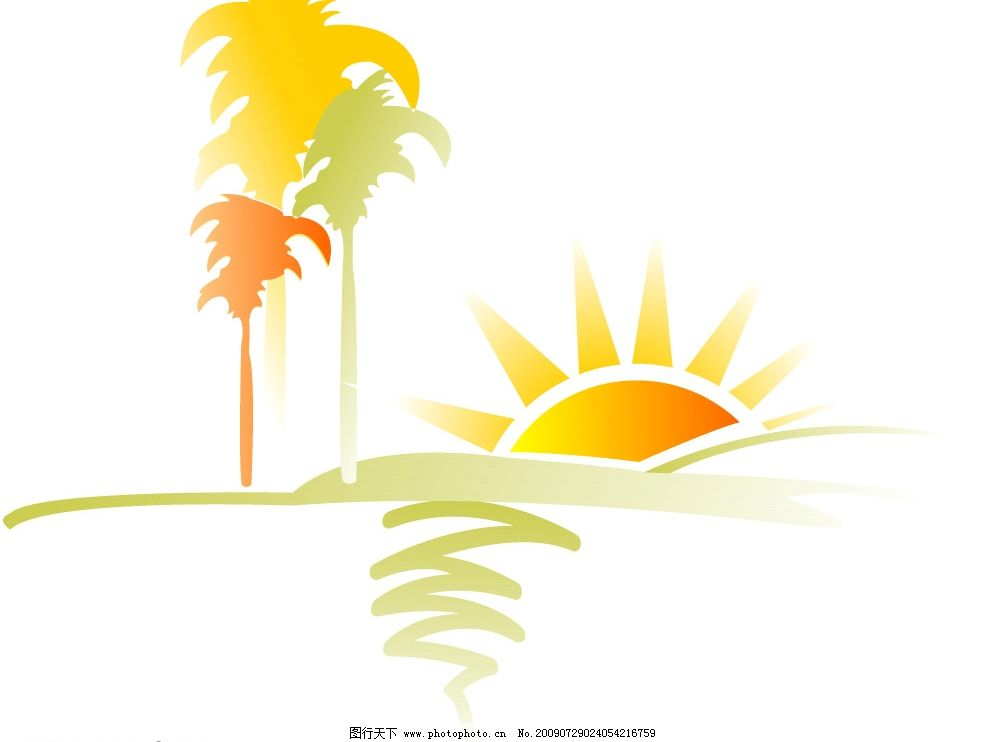 日出 自然景观 自然风景 矢量图库 cdr