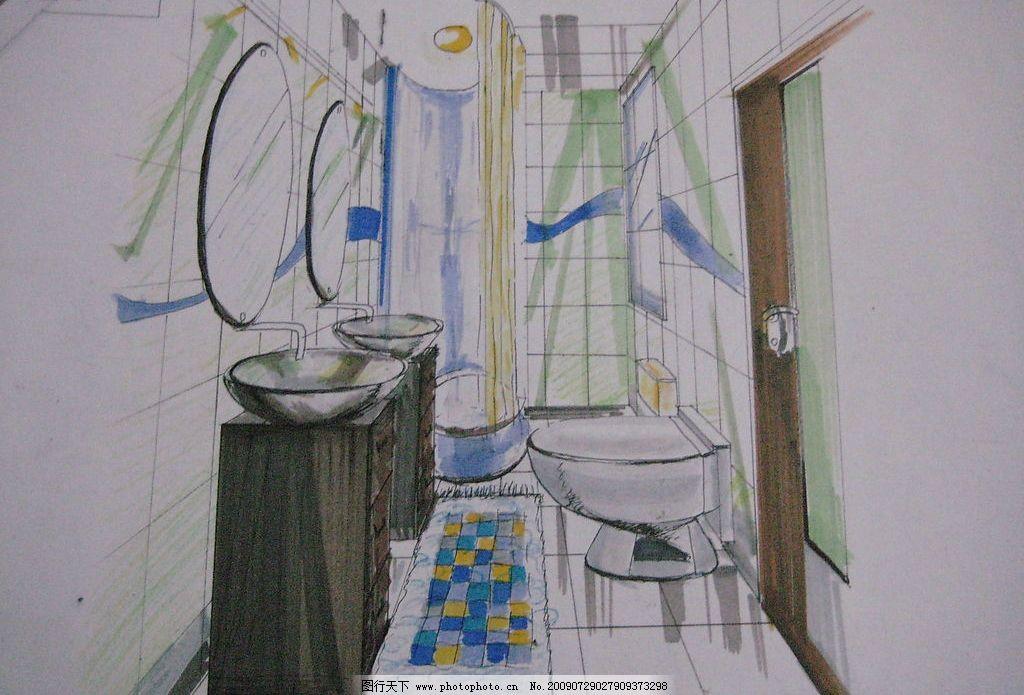 手绘卫生间效果图 手绘               马克笔 环境设计 室内设计