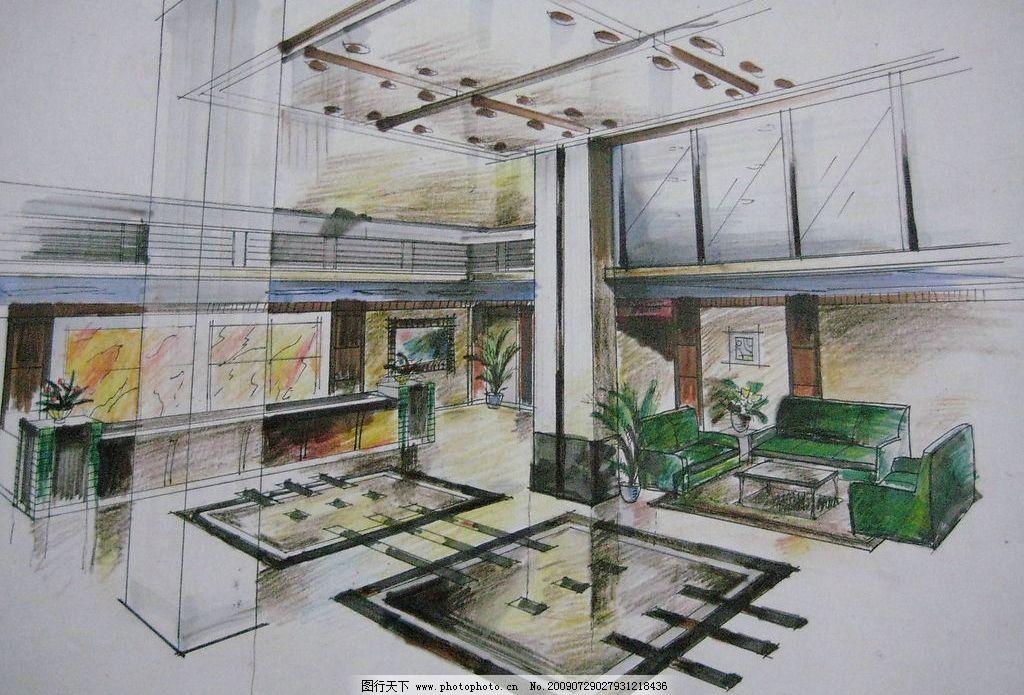 大厅手绘效果图 大厅 手绘        气派 马克笔 环境设计 室内设计 设