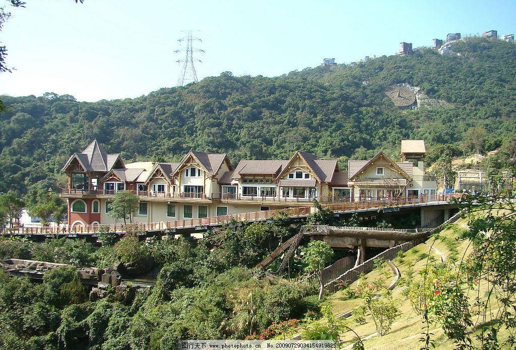 旅游风景 铁索桥 自然风景 木屋 森林 绿树 绿草 旅游摄影 摄影图库 2