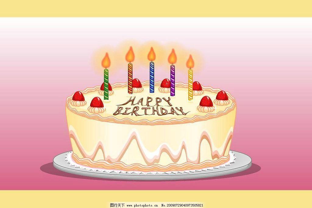 矢量生日蛋糕蜡烛动画
