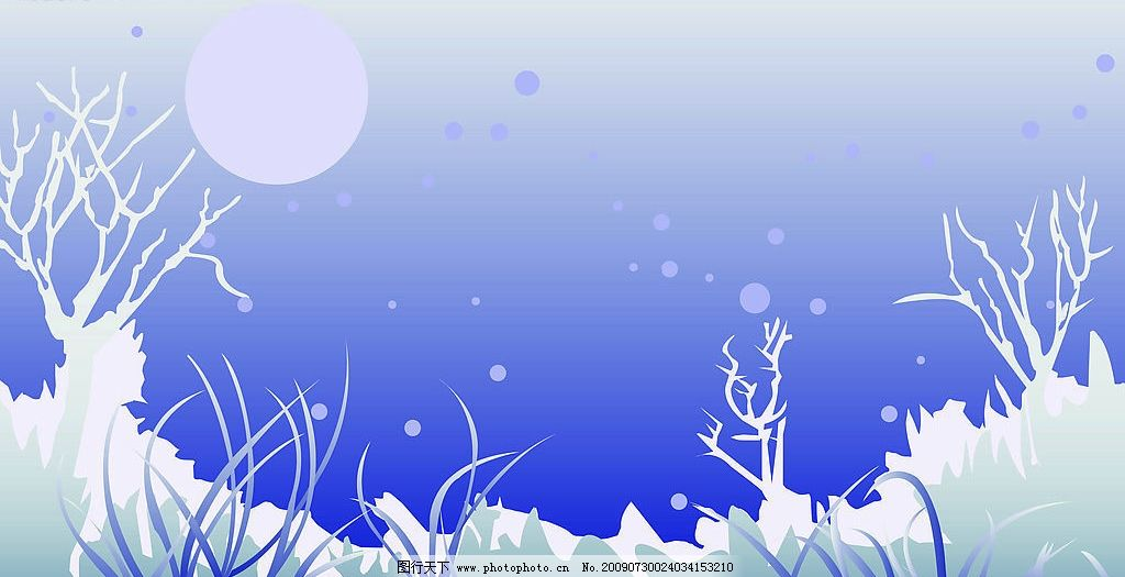 雪夜 雪地 月亮 灰色背景 移门图案 三门 自然风景 矢量图库