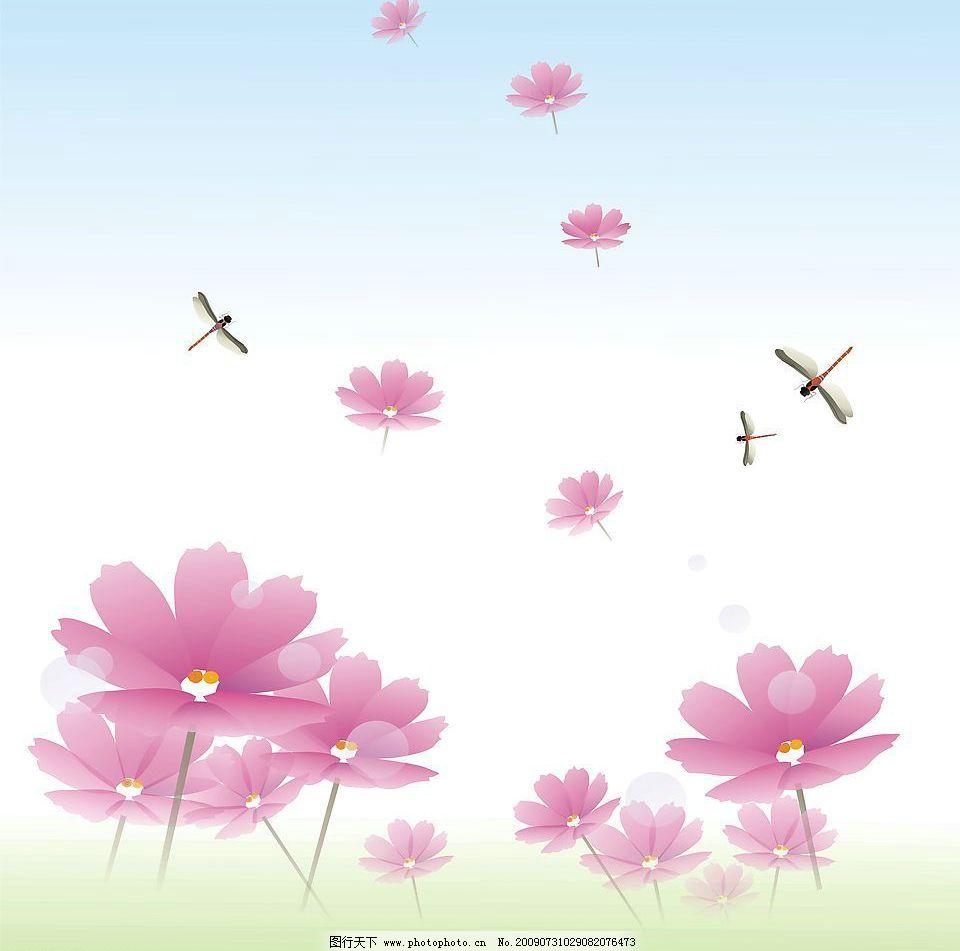 晴空 玻璃移门图案 花案 粉红色花朵 其他设计