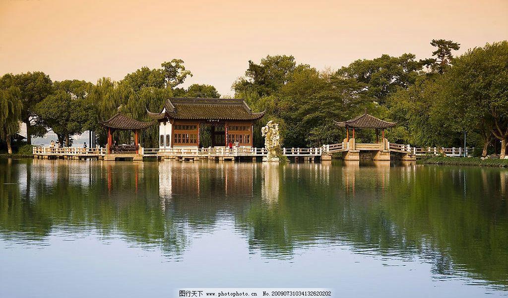 杭州西湖 湖水 树木倒影 亭子 高清摄影 中国名胜 浙江杭州西湖
