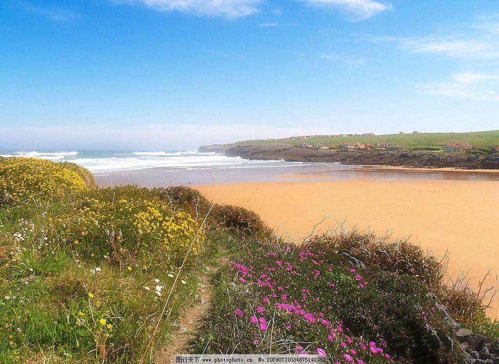 美丽风景 海边 沙滩 海水 蓝天 白云 云层 天空 景色 花草 自然景观