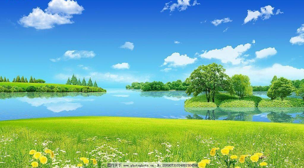 风景 草地 湖 蓝天白云 树岛 辽阔 清新 花朵 鲜花 摄影图库
