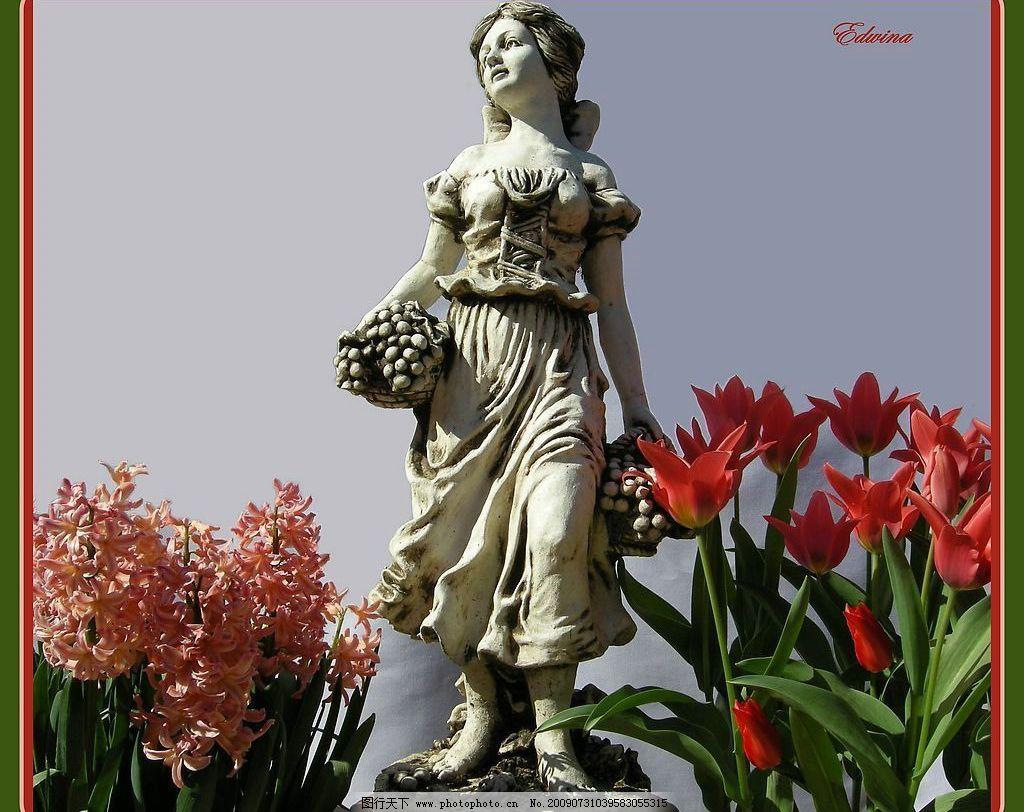 雕塑 石雕 墙壁 女神雕塑 花园 女神 花 花卉 女孩雕塑 小孩雕塑 红色
