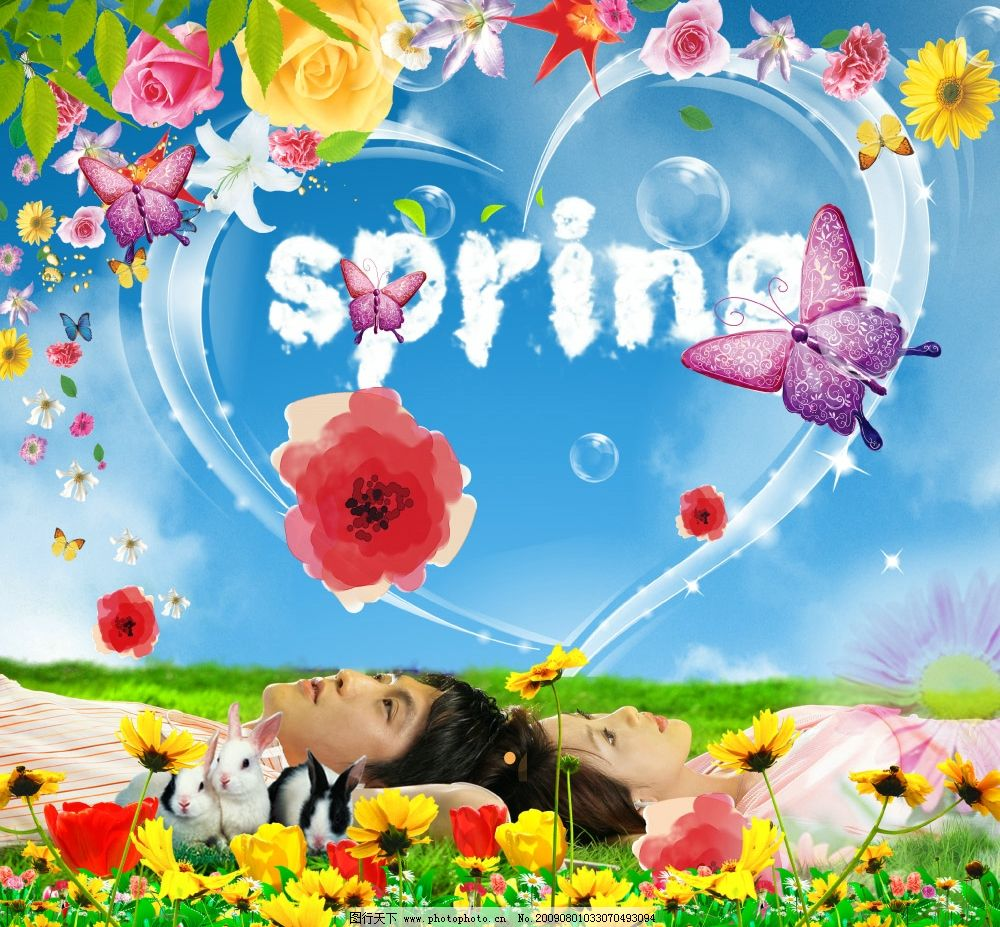 各种花草 树叶 玫瑰 情侣 蝴蝶 心 草地 气泡 可爱小兔 向日葵