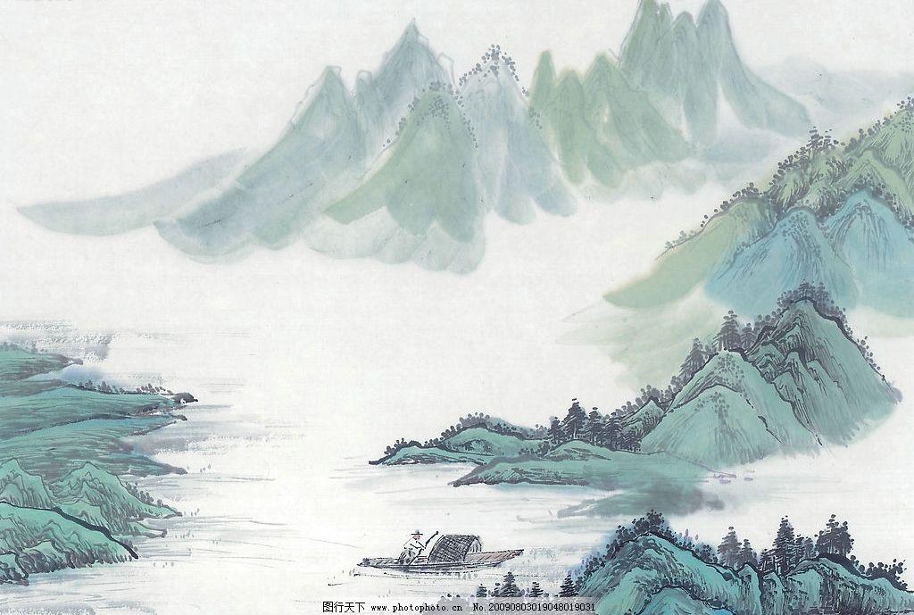 水墨山水画 水墨画 山水画 风景画 国画 文化艺术 绘画书法 设计图库