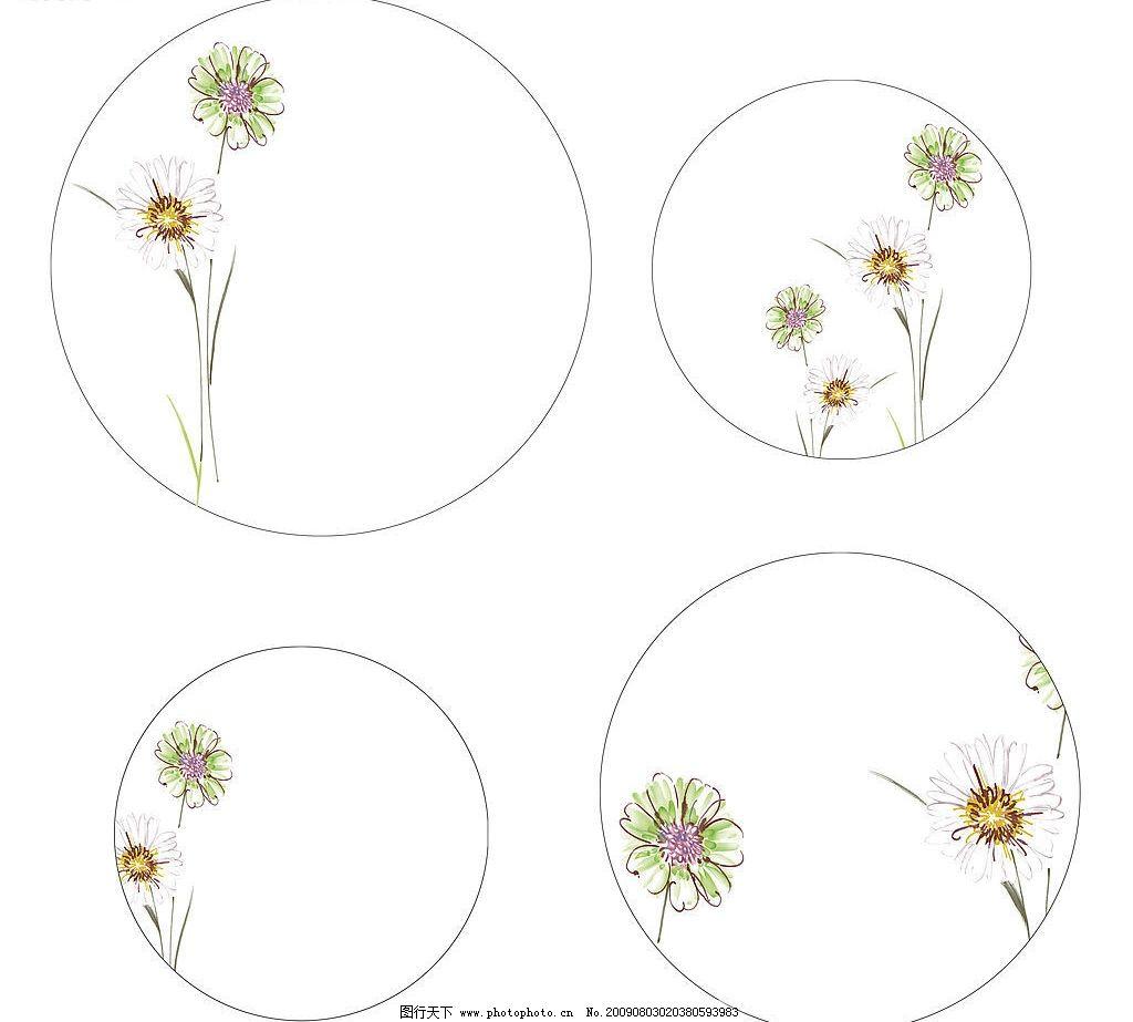 花纸设计 陶瓷花纸设计 碗 盘 花朵 底纹边框 花边花纹 设计图库 300d