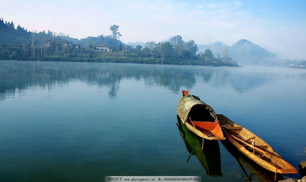 舞水河 湖水 树林 倒影 乌篷船 寂静的小船 自然景观 自然风景 摄影