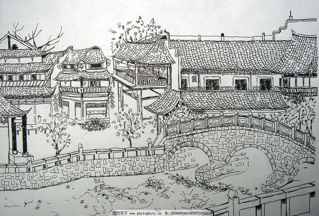 园林速写 建筑 河流 桥梁 树木 风景 文化艺术 绘画书法 设计图库 72