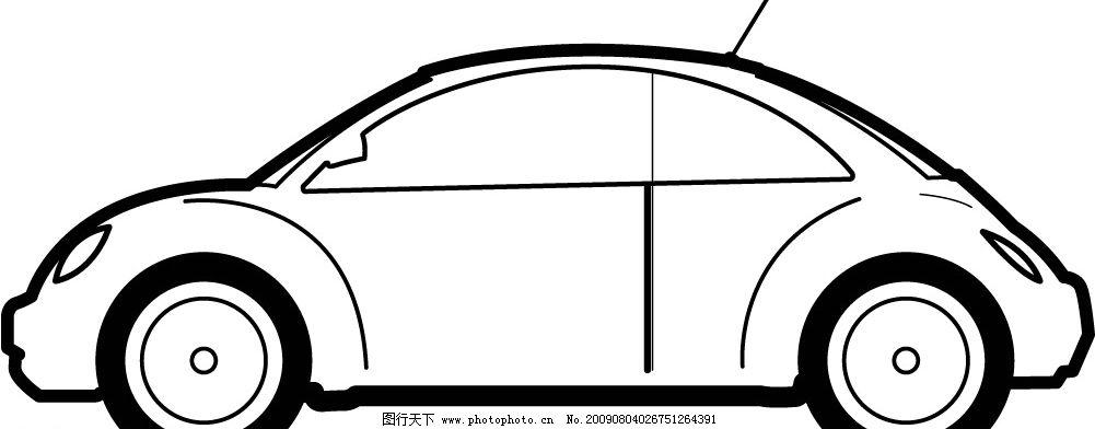 小汽车侧面矢量白描 小汽车 现代科技 交通工具 矢量图库 ai