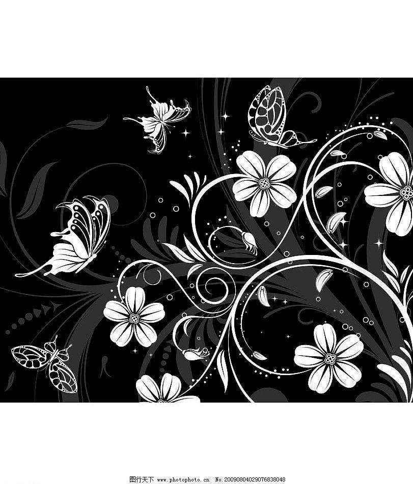 黑白诱惑 纯白色的花 蝴蝶 叶子 纯黑色的背景 其他设计