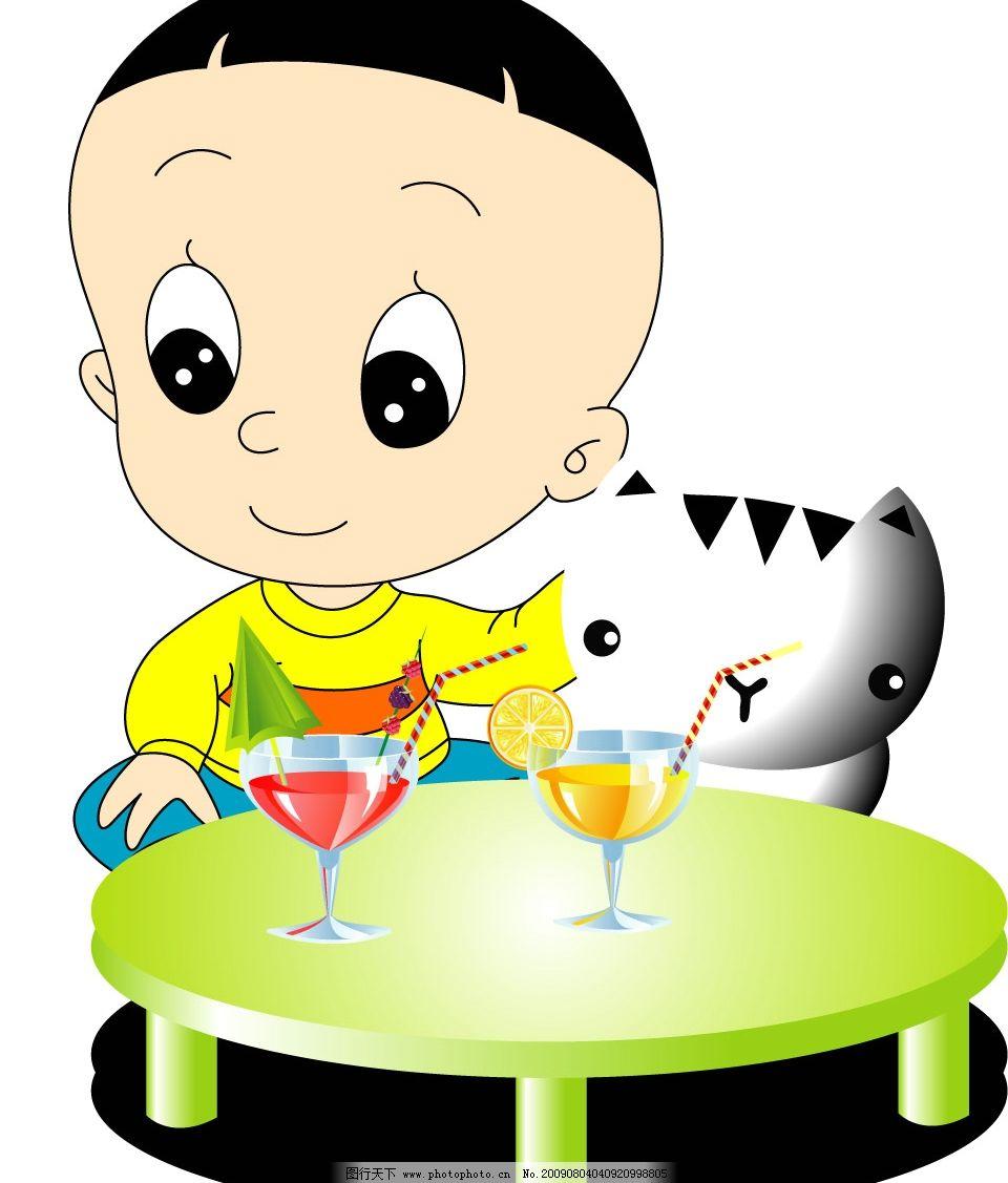 大头儿子 大头儿子小头爸爸 桌子 猫 卡通 可爱 失量 杯子 矢量人物
