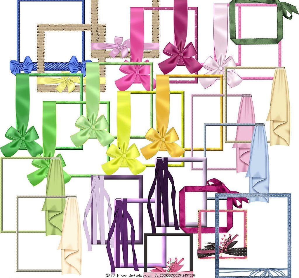 蝴蝶结缎带相框 边框 源文件库 摄影模板 相框模板