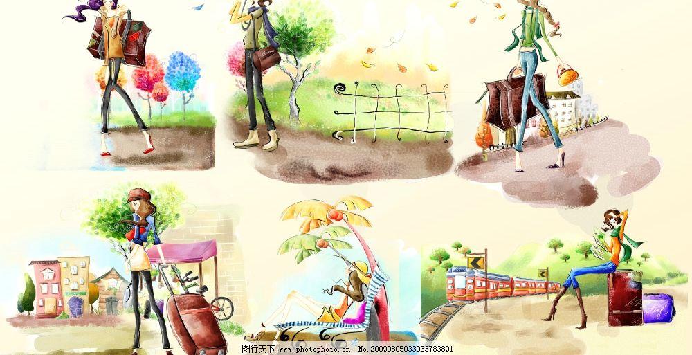 韩国手绘美女插画psd图片