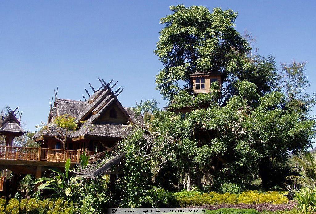 泰国住宅 蓝天 树木 小楼 民宅 花草 旅游摄影 国内旅游 摄影图库