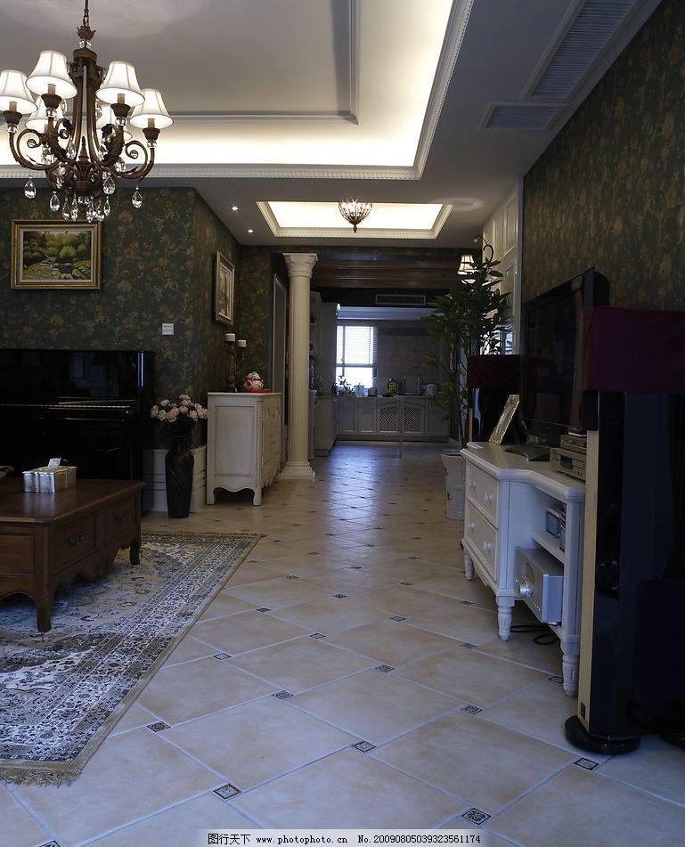 摄影图库 建筑园林 室内摄影  客厅过道 客厅 地板 瓷砖 欧式风格