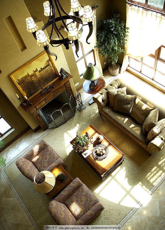 客厅 古典 室内摄影 俯视 沙发 温馨 欧式 建筑园林 摄影图库