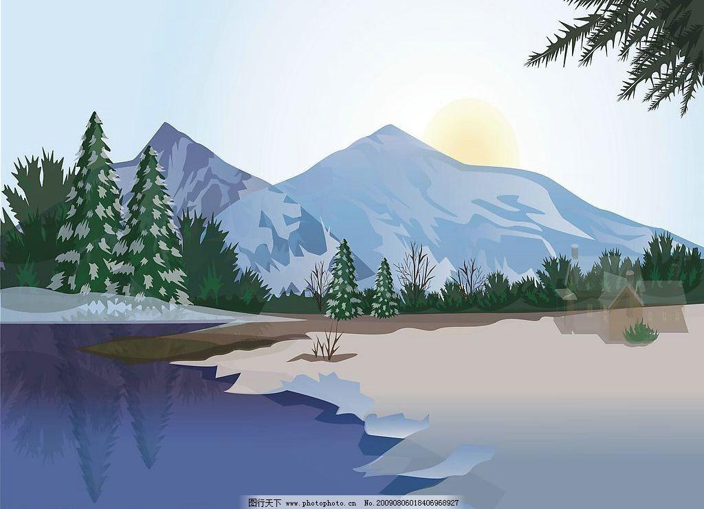 东北风光 玻璃移门图案 森林 湖泊 雪山 动漫动画 风景漫画 设计图库