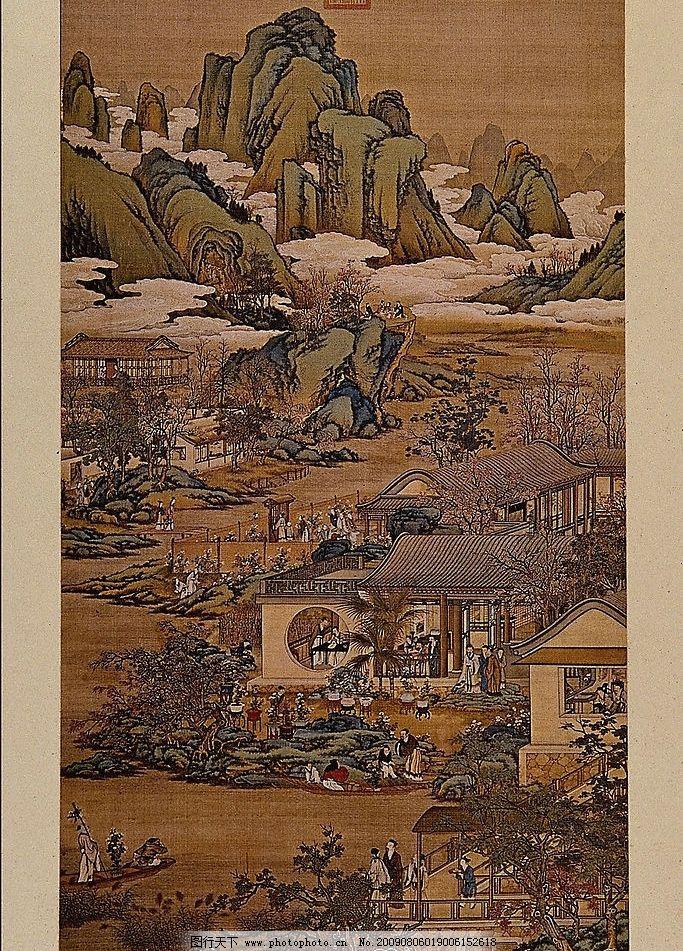 古代绘画 古代 绘画 古画 山峰 古建筑 古人 文化艺术 绘画书法 设计