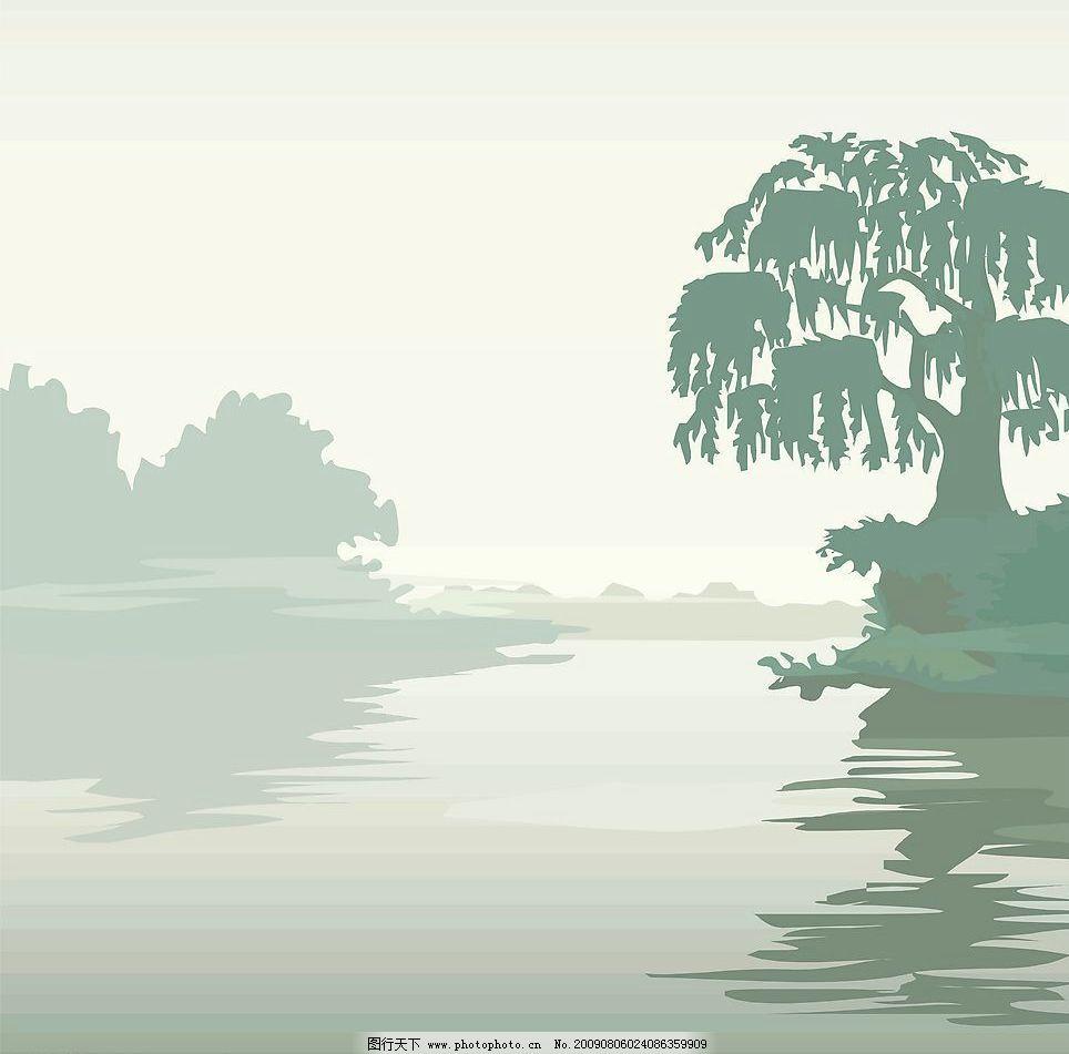 玻璃移门图 河流 树 动漫动画 风景漫画 设计图库 72dpi jpg 自然景观
