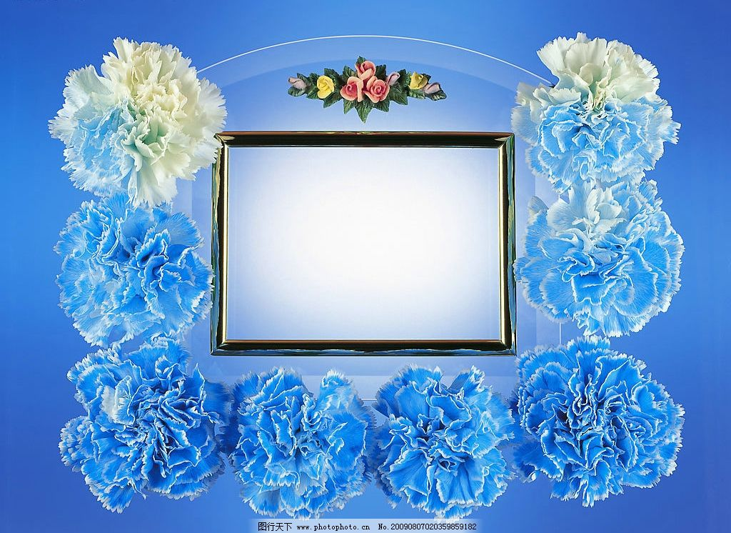蓝色花边 背景 花边 设计素材