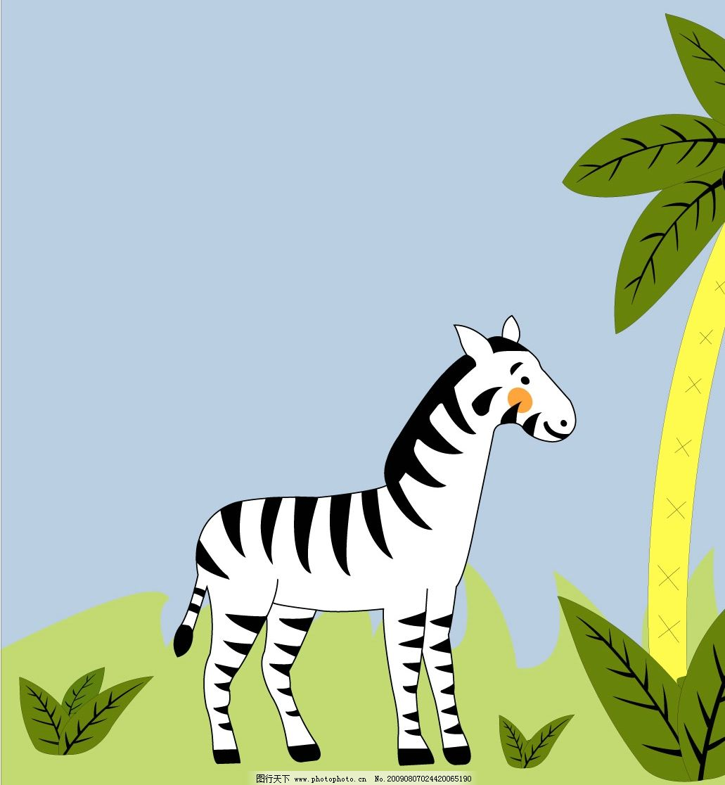 长颈鹿3 斑马 鹿 树 草地 蓝天 生物世界 野生动物 矢量图库 ai