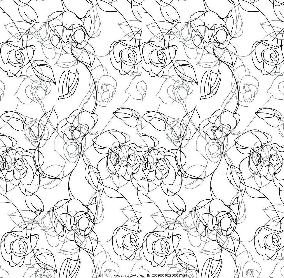 玫瑰线条 玻璃移门图案