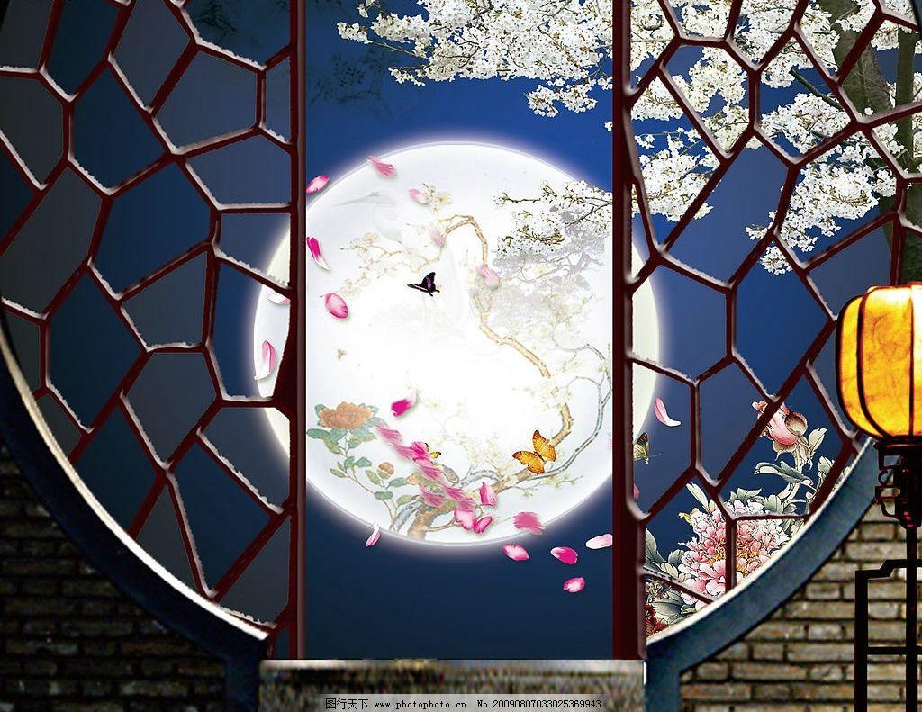 花 窗 天空 明月 八月十五 中秋佳节 月圆 底纹 月亮 后花园 古画