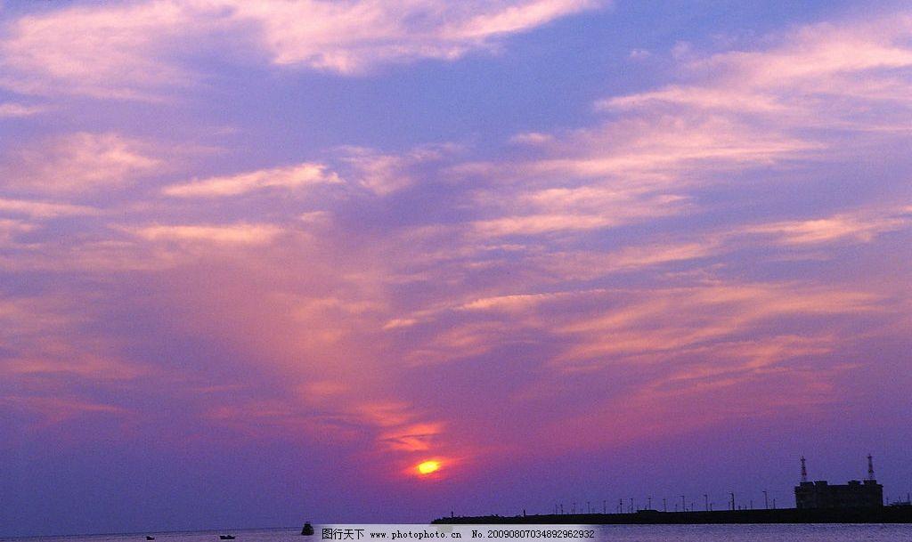 晚霞 落阳 大海 鱼船 自然景观 自然风景 摄影图库 72dpi jpg