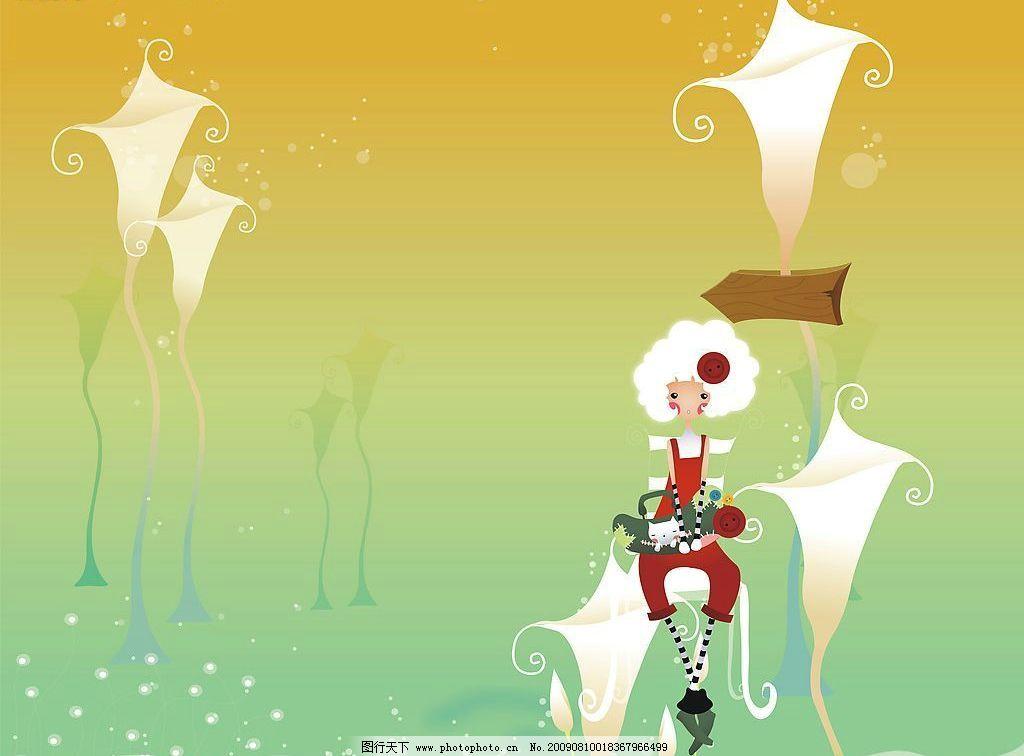 初恋 玻璃移门图案 卡通 女孩 环境设计 其他设计 设计图库 72dpi jpg