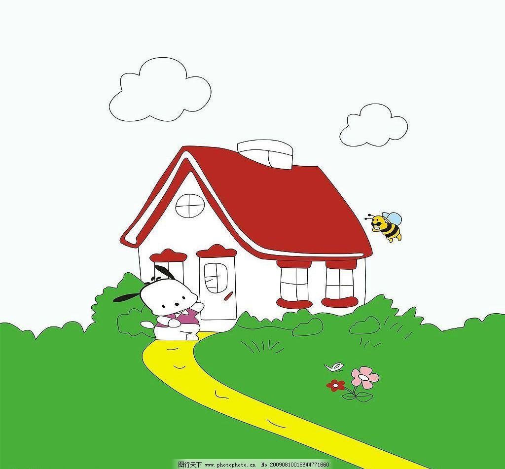 游玩 玻璃移门图案 房屋 蜜蜂 蝴蝶 草坪 卡通 环境设计 其他设计
